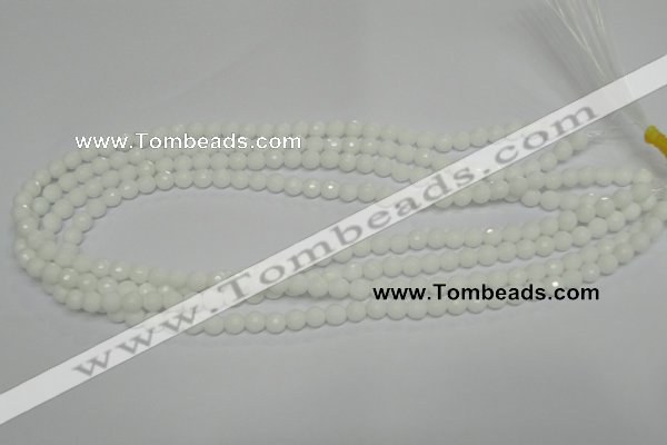 CPB32 15.5 inches 6mm faceted round white porcelain beads wholesale