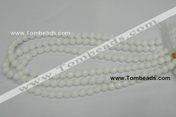 CPB33 15.5 inches 8mm faceted round white porcelain beads wholesale