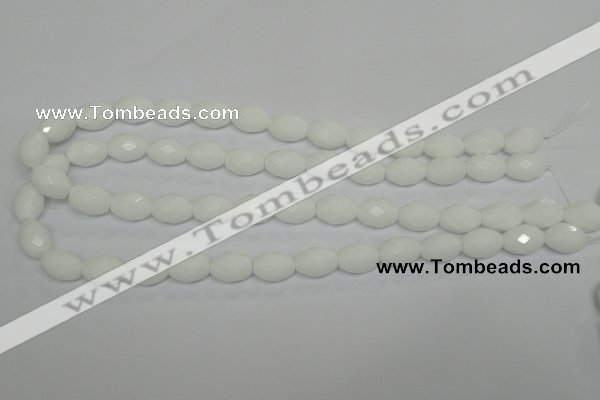 CPB46 15.5 inches 10*14mm faceted rice white porcelain beads