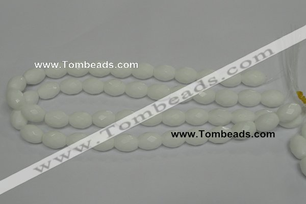 CPB47 15.5 inches 12*16mm faceted rice white porcelain beads