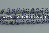 CPB524 15.5 inches 12mm round Painted porcelain beads
