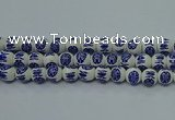 CPB532 15.5 inches 8mm round Painted porcelain beads