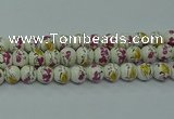 CPB694 15.5 inches 12mm round Painted porcelain beads