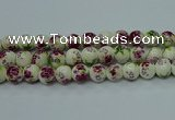 CPB704 15.5 inches 12mm round Painted porcelain beads