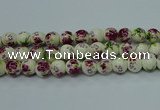CPB705 15.5 inches 14mm round Painted porcelain beads