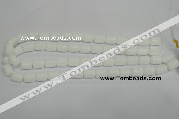 CPB75 15.5 inches 10*14mm column white porcelain beads wholesale