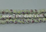 CPB773 15.5 inches 10mm round Painted porcelain beads