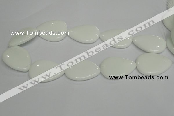 CPB94 15.5 inches 30*40mm flat teardrop white porcelain beads wholesale