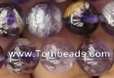 CPC612 15.5 inches 10mm round purple phantom quartz beads