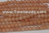CPE01 15.5 inches 4mm round peach stone beads wholesale