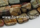 CPJ09 15.5 inches 12*16mm rectangle picasso jasper beads wholesale