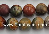 CPJ105 15.5 inches 14mm round picasso jasper gemstone beads wholesale