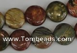 CPJ352 15.5 inches 16mm flat round picasso jasper gemstone beads