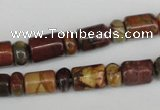 CPJ367 15.5 inches 5*8mm rondelle & 8*10mm tube picasso jasper beads
