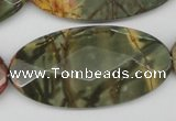 CPJ415 15 inches 25*50mm faceted oval picasso jasper gemstone beads