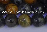 CPJ475 15.5 inches 14mm round black picasso jasper beads wholesale