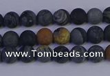 CPJ491 15.5 inches 6mm round matte black picasso jasper beads