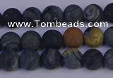 CPJ492 15.5 inches 8mm round matte black picasso jasper beads
