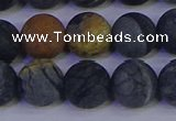 CPJ495 15.5 inches 14mm round matte black picasso jasper beads