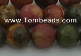 CPJ534 15.5 inches 12mm faceted round picasso jasper beads