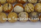 CPJ558 15.5 inches 10mm faceted round picture jasper beads