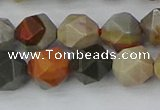 CPJ566 15.5 inches 10mm faceted nuggets polychrome jasper beads