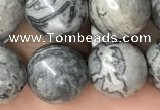 CPJ584 15.5 inches 12mm round grey picture jasper beads wholesale