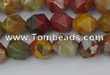 CPJ626 15.5 inches 6mm faceted nuggets picasso jasper beads