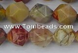 CPJ629 15.5 inches 12mm faceted nuggets picasso jasper beads
