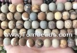 CPJ653 15.5 inches 10mm round matte picture jasper beads wholesale