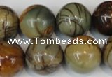 CPJ66 15.5 inches 18mm round picasso jasper gemstone beads