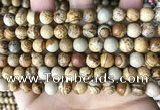 CPJ660 15.5 inches 8mm round picture jasper beads wholesale