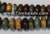 CPJ69 15.5 inches 7*14mm rondelle picasso jasper gemstone beads