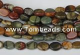 CPJ81 15.5 inches 6*8mm oval picasso jasper gemstone beads