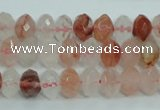 CPQ39 15.5 inches 6*10mm faceted rondelle natural pink quartz beads
