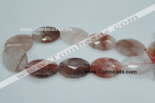 CPQ65 15.5 inches 30*40mm faceted oval natural pink quartz beads