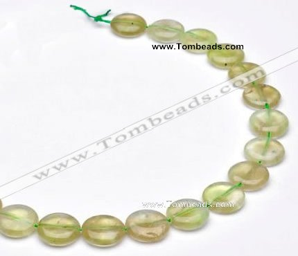 CPR09 A grade 16mm flat round natural prehnite gemstone beads