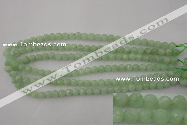 CPR111 15.5 inches 6mm faceted round natural prehnite beads wholesale