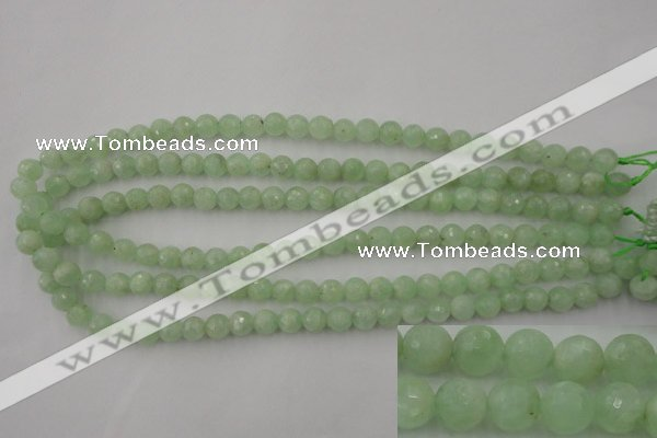 CPR112 15.5 inches 8mm faceted round natural prehnite beads wholesale