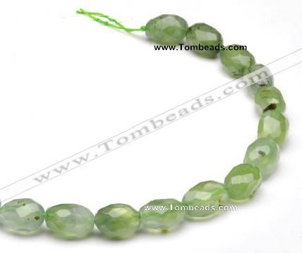 CPR24 A grade 11*15mm faceted pebble shape natural Prehnite bead
