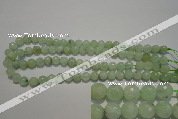 CPR53 15.5 inches 10mm faceted round natural prehnite beads