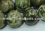 CPS09 15.5 inches 20mm round green peacock stone beads wholesale