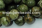 CPS112 15.5 inches 12mm round green peacock stone beads wholesale