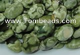 CPS42 15.5 inches 8*12mm oval green peacock stone beads wholesale