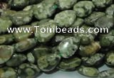 CPS47 15.5 inches 8*12mm flat teardrop green peacock stone beads