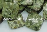 CPS75 15.5 inches 20*20mm faceted rhombic green peacock stone beads