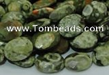 CPS90 15.5 inches 14*18mm faceted oval green peacock stone beads