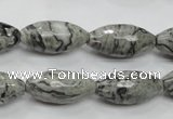 CPT122 15.5 inches 10*20mm faceted rice grey picture jasper beads