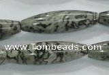 CPT124 15.5 inches 12*40mm rice grey picture jasper beads