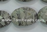CPT129 15.5 inches 22*30mm faceted oval grey picture jasper beads